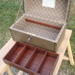 Leather covered box w/ mahogany can drawer inside