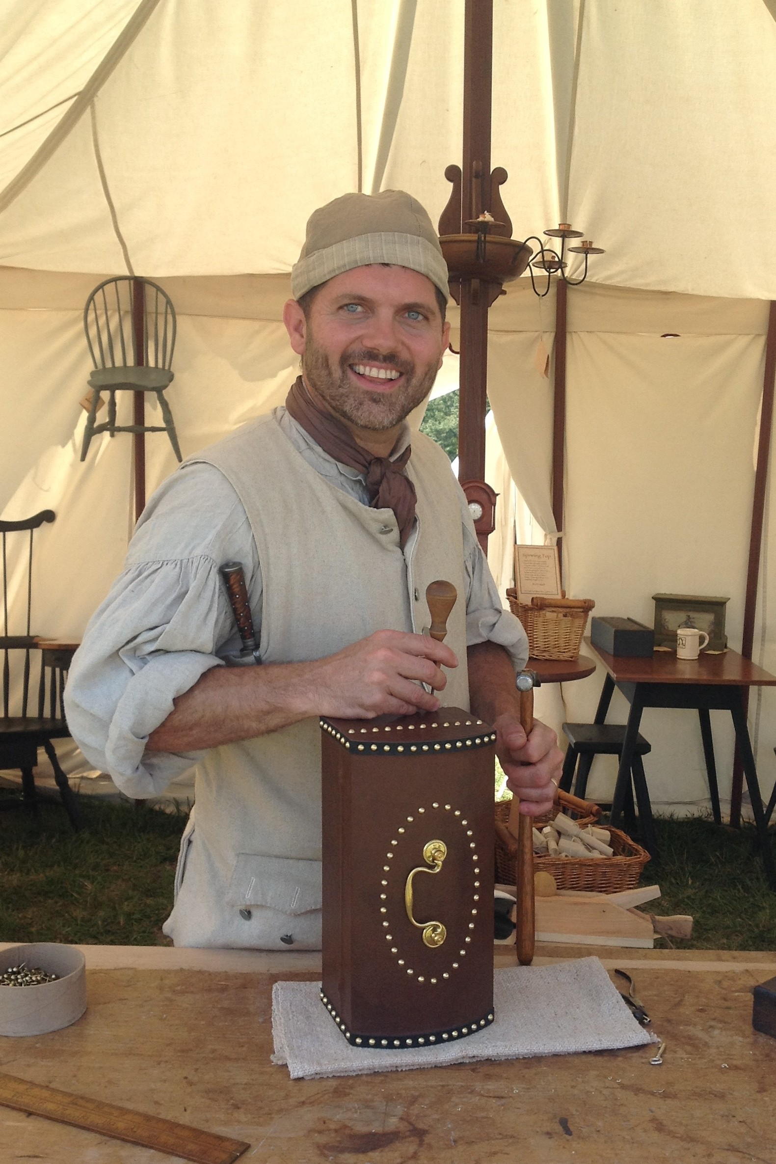 Matt Stein Demonstrating Box making at Mount Vernon Market Fair