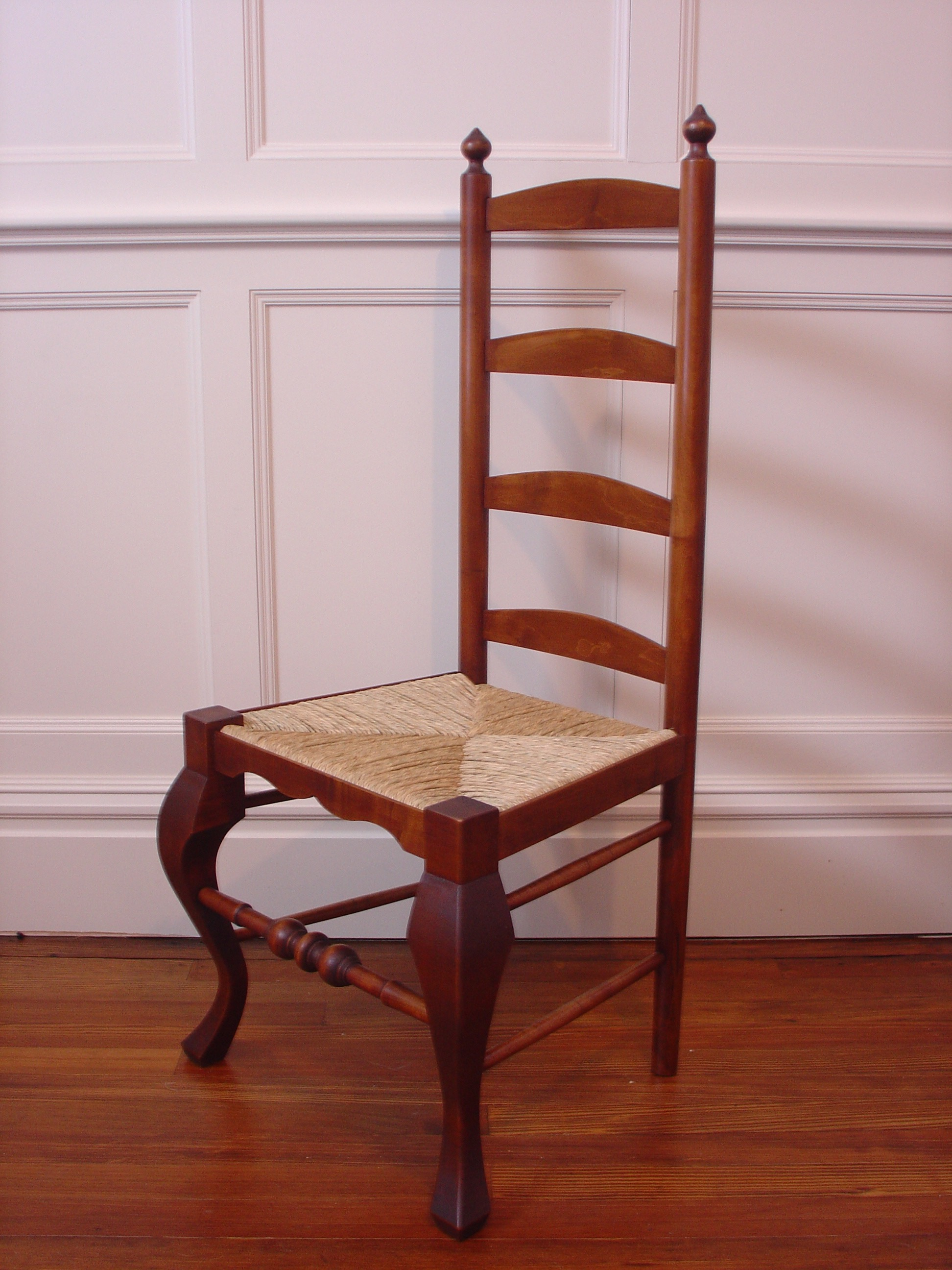 Maple ladder back chair with hand woven rush seat