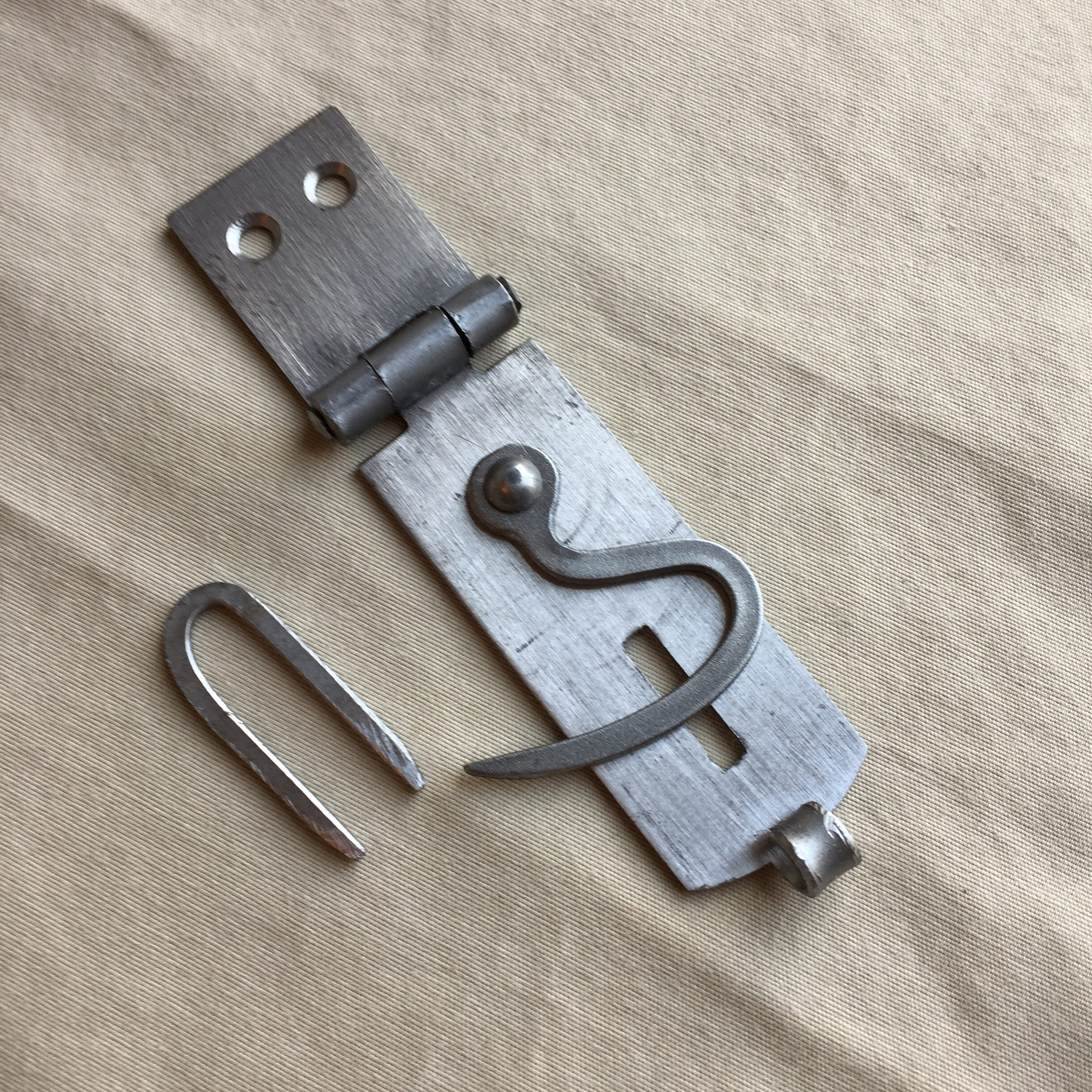 Iron hasp and staple