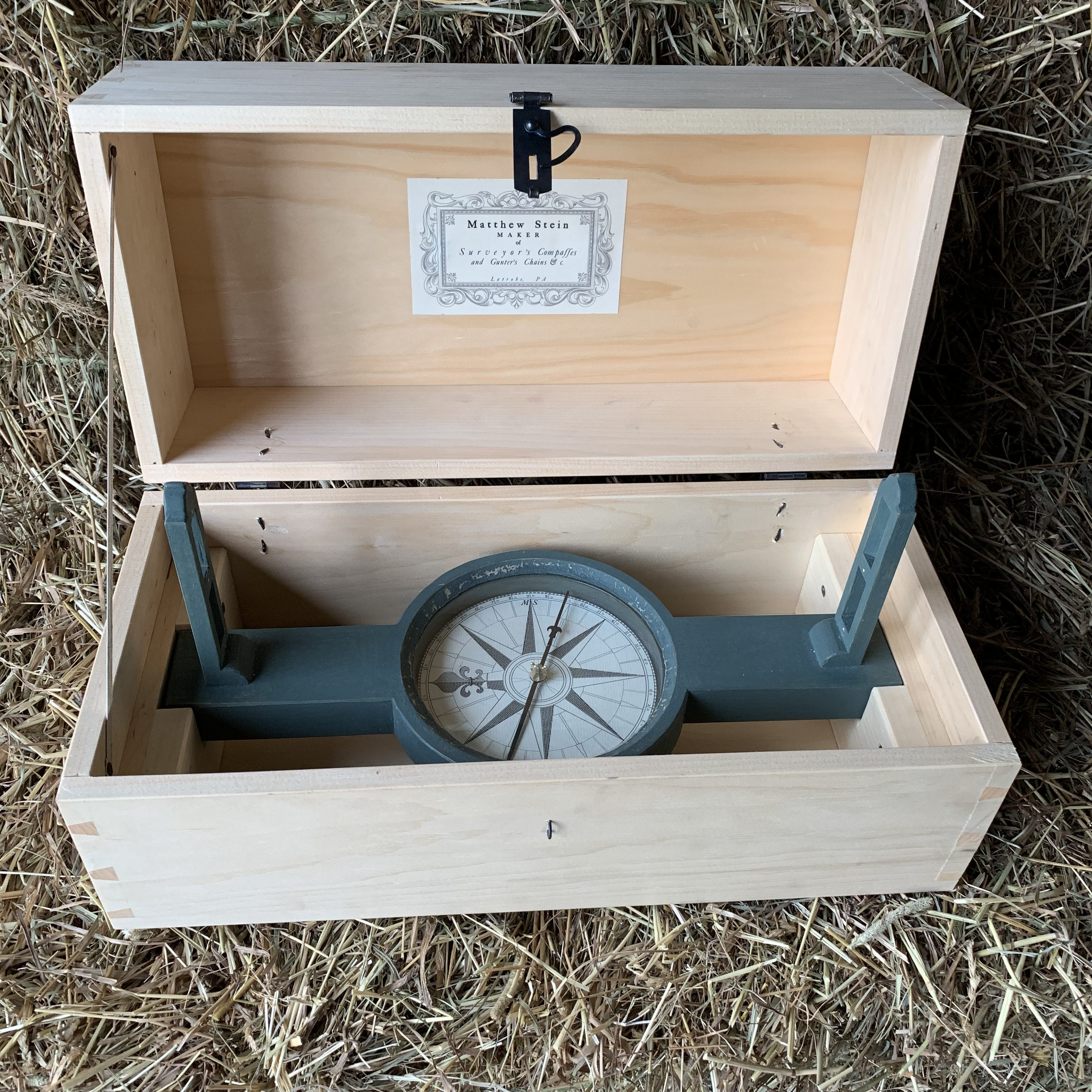 Painted Surveyors Compass in pine storage box
