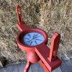 Wooden Surveyors compass, painted salem red
